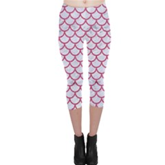 Scales1 White Marble & Pink Denim (r) Capri Leggings  by trendistuff
