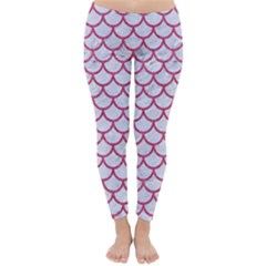 Scales1 White Marble & Pink Denim (r) Classic Winter Leggings