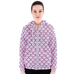 Scales1 White Marble & Pink Denim (r) Women s Zipper Hoodie