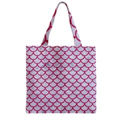Scales1 White Marble & Pink Denim (r) Zipper Grocery Tote Bag by trendistuff