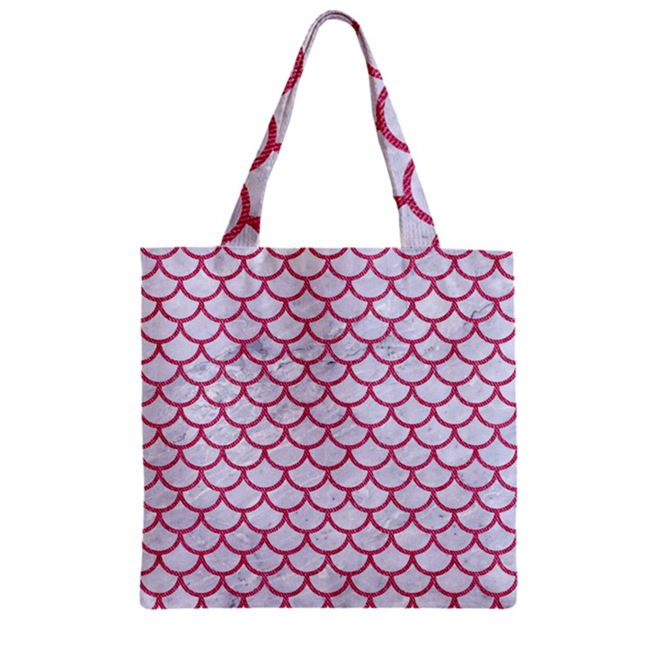 SCALES1 WHITE MARBLE & PINK DENIM (R) Zipper Grocery Tote Bag