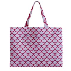 Scales1 White Marble & Pink Denim (r) Zipper Mini Tote Bag by trendistuff