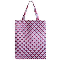 Scales1 White Marble & Pink Denim (r) Zipper Classic Tote Bag by trendistuff
