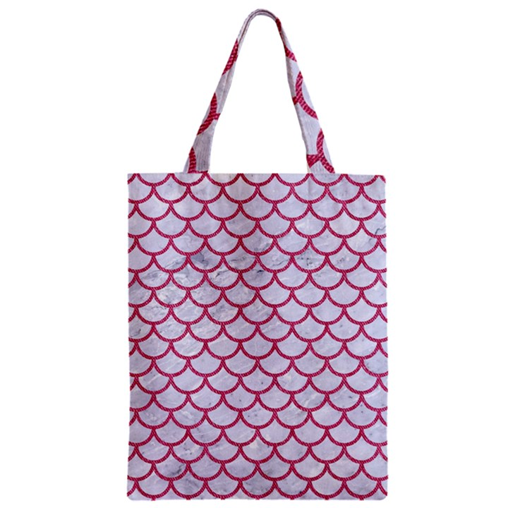 SCALES1 WHITE MARBLE & PINK DENIM (R) Zipper Classic Tote Bag