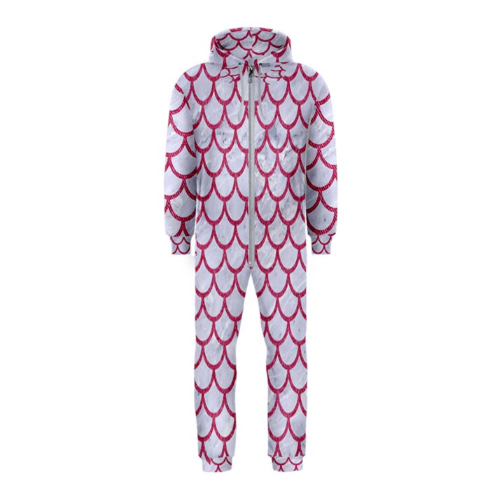 SCALES1 WHITE MARBLE & PINK DENIM (R) Hooded Jumpsuit (Kids)