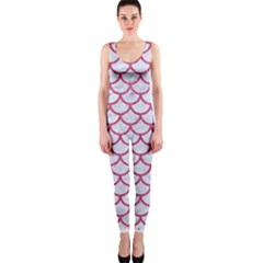 Scales1 White Marble & Pink Denim (r) One Piece Catsuit