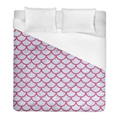 Scales1 White Marble & Pink Denim (r) Duvet Cover (full/ Double Size) by trendistuff