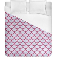 Scales1 White Marble & Pink Denim (r) Duvet Cover (california King Size)