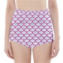 SCALES1 WHITE MARBLE & PINK DENIM (R) High-Waisted Bikini Bottoms View1