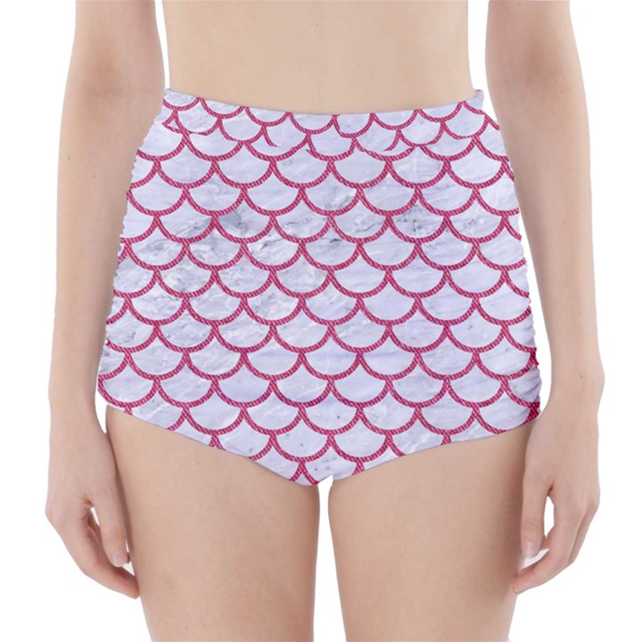 SCALES1 WHITE MARBLE & PINK DENIM (R) High-Waisted Bikini Bottoms