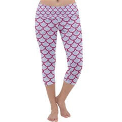 Scales1 White Marble & Pink Denim (r) Capri Yoga Leggings by trendistuff