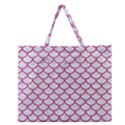 SCALES1 WHITE MARBLE & PINK DENIM (R) Zipper Large Tote Bag View1