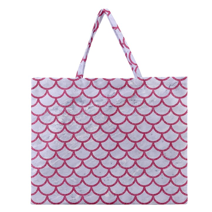 SCALES1 WHITE MARBLE & PINK DENIM (R) Zipper Large Tote Bag