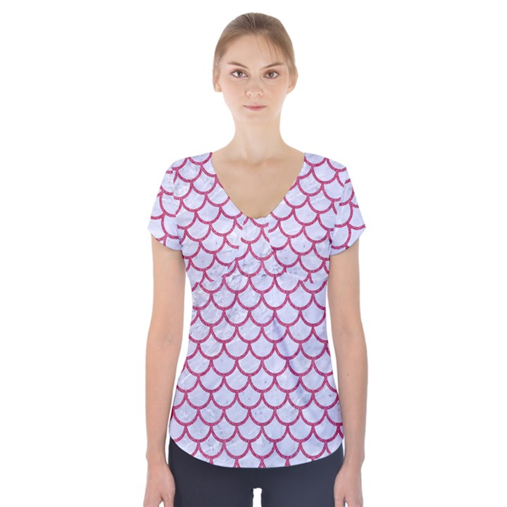 SCALES1 WHITE MARBLE & PINK DENIM (R) Short Sleeve Front Detail Top