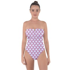 Scales1 White Marble & Pink Denim (r) Tie Back One Piece Swimsuit