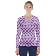 Scales1 White Marble & Pink Denim (r) V Neck Long Sleeve Top