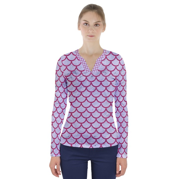 SCALES1 WHITE MARBLE & PINK DENIM (R) V-Neck Long Sleeve Top