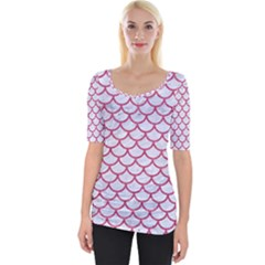 Scales1 White Marble & Pink Denim (r) Wide Neckline Tee