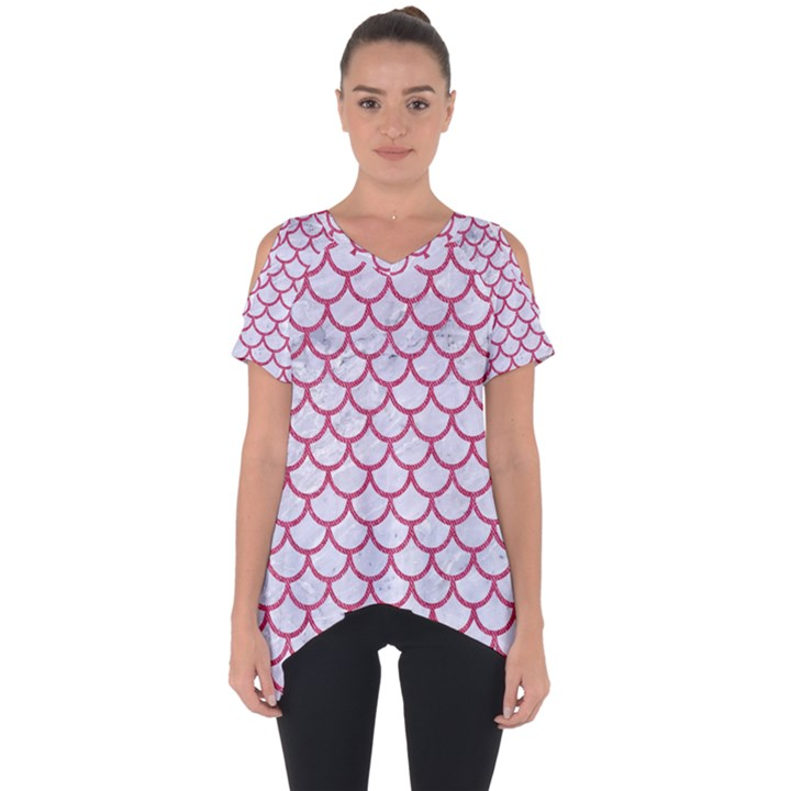 SCALES1 WHITE MARBLE & PINK DENIM (R) Cut Out Side Drop Tee