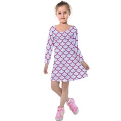 Scales1 White Marble & Pink Denim (r) Kids  Long Sleeve Velvet Dress by trendistuff