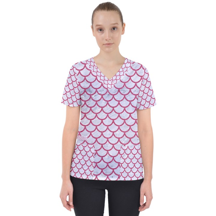 SCALES1 WHITE MARBLE & PINK DENIM (R) Scrub Top