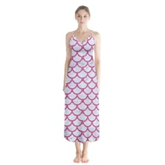 Scales1 White Marble & Pink Denim (r) Button Up Chiffon Maxi Dress