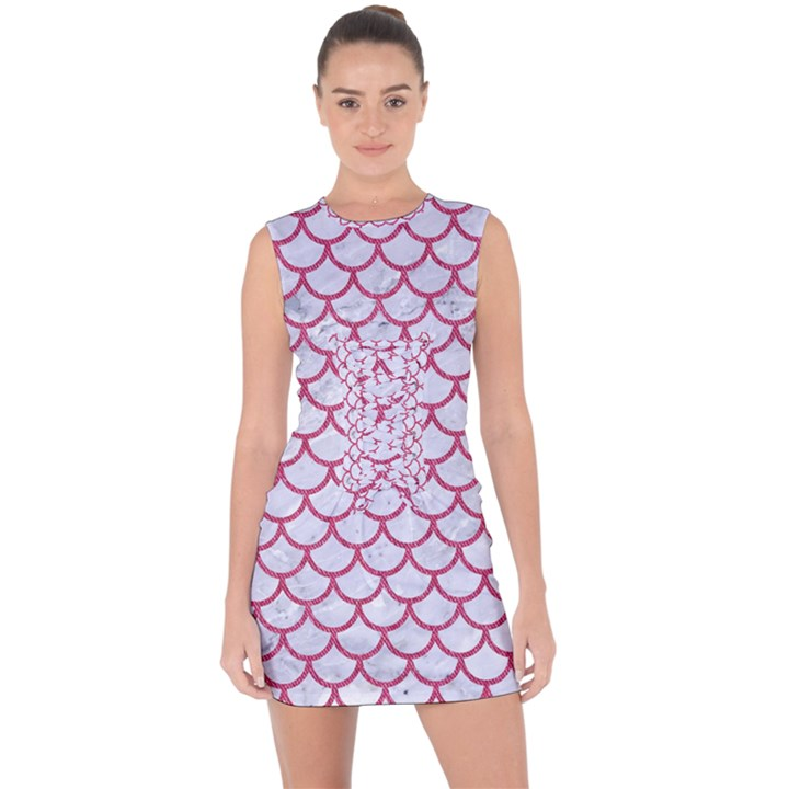 SCALES1 WHITE MARBLE & PINK DENIM (R) Lace Up Front Bodycon Dress