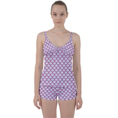 Scales1 White Marble & Pink Denim (r) Tie Front Two Piece Tankini