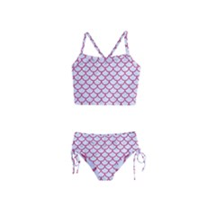 Scales1 White Marble & Pink Denim (r) Girls  Tankini Swimsuit