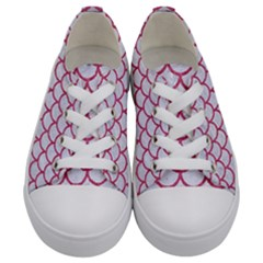 Scales1 White Marble & Pink Denim (r) Kids  Low Top Canvas Sneakers