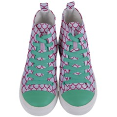 Scales1 White Marble & Pink Denim (r) Women s Mid Top Canvas Sneakers