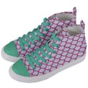 SCALES1 WHITE MARBLE & PINK DENIM (R) Women s Mid-Top Canvas Sneakers View2