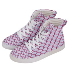 Scales1 White Marble & Pink Denim (r) Women s Hi Top Skate Sneakers by trendistuff