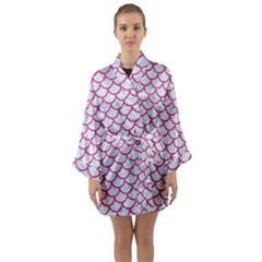 Scales1 White Marble & Pink Denim (r) Long Sleeve Kimono Robe
