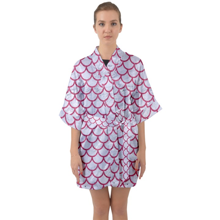 SCALES1 WHITE MARBLE & PINK DENIM (R) Quarter Sleeve Kimono Robe