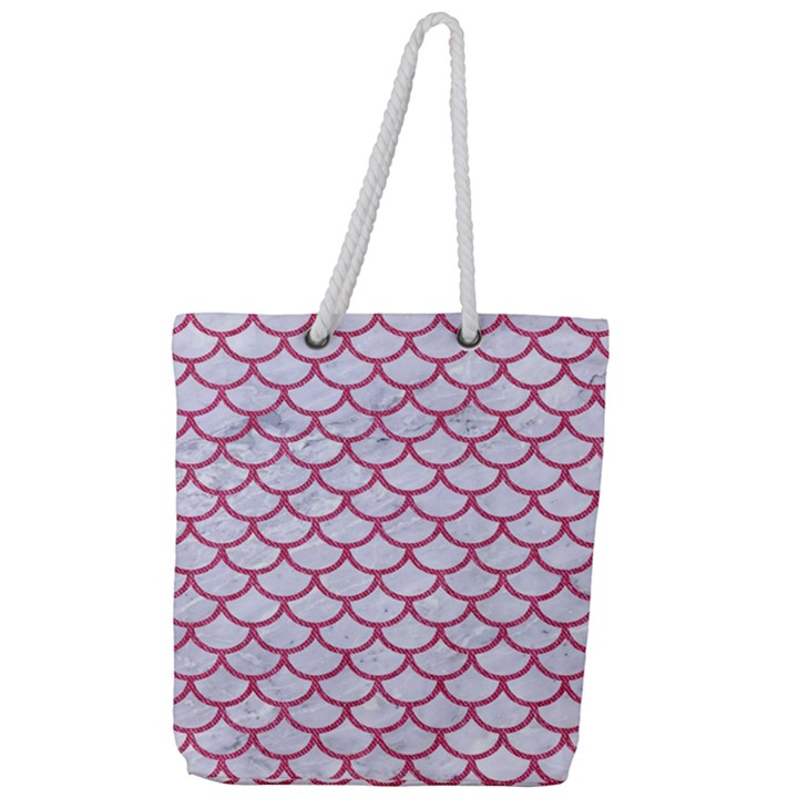 SCALES1 WHITE MARBLE & PINK DENIM (R) Full Print Rope Handle Tote (Large)