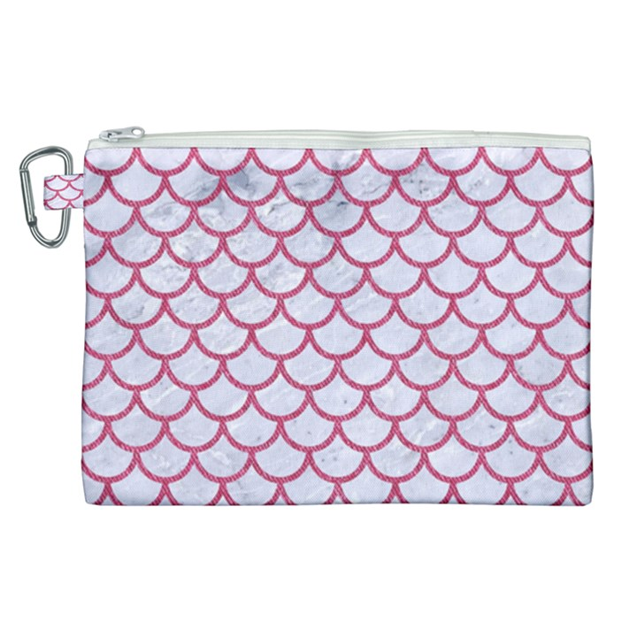 SCALES1 WHITE MARBLE & PINK DENIM (R) Canvas Cosmetic Bag (XL)