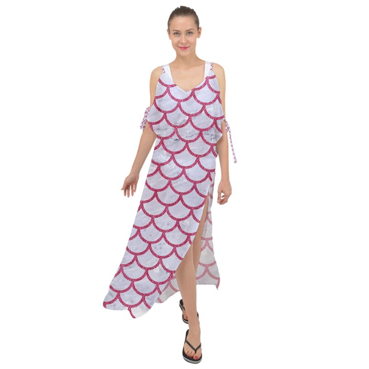 SCALES1 WHITE MARBLE & PINK DENIM (R) Maxi Chiffon Cover Up Dress
