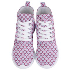 Scales1 White Marble & Pink Denim (r) Women s Lightweight High Top Sneakers