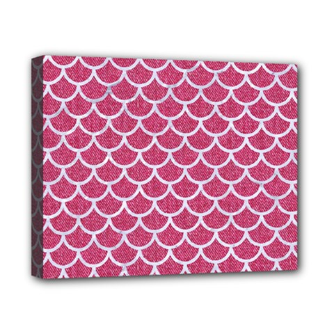Scales1 White Marble & Pink Denim Canvas 10  X 8  by trendistuff