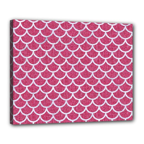 Scales1 White Marble & Pink Denim Canvas 20  X 16  by trendistuff