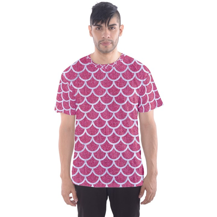SCALES1 WHITE MARBLE & PINK DENIM Men s Sports Mesh Tee