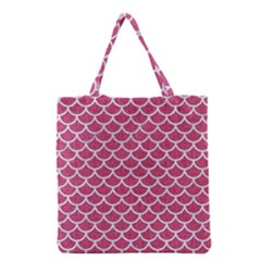 Scales1 White Marble & Pink Denim Grocery Tote Bag by trendistuff