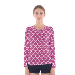 Scales1 White Marble & Pink Denim Women s Long Sleeve Tee