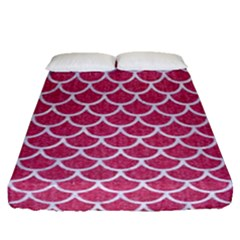 Scales1 White Marble & Pink Denim Fitted Sheet (queen Size)
