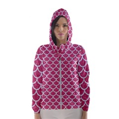 Scales1 White Marble & Pink Denim Hooded Windbreaker (women) by trendistuff