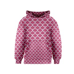 Scales1 White Marble & Pink Denim Kids  Pullover Hoodie by trendistuff
