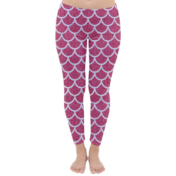 SCALES1 WHITE MARBLE & PINK DENIM Classic Winter Leggings
