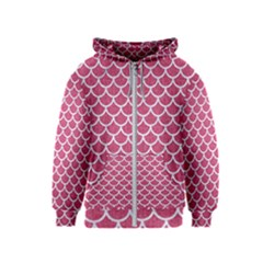 Scales1 White Marble & Pink Denim Kids  Zipper Hoodie