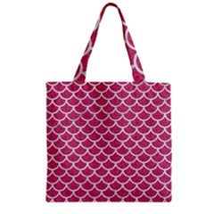 Scales1 White Marble & Pink Denim Zipper Grocery Tote Bag